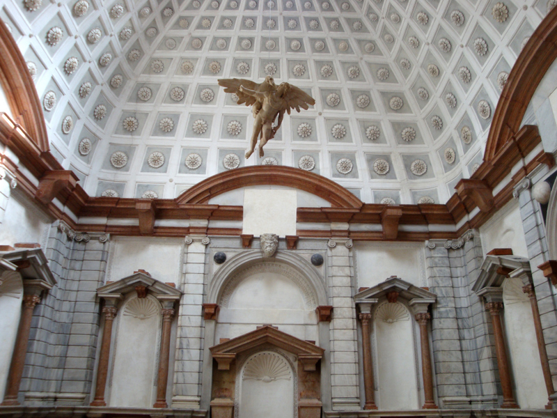 "The sculpture gallery and ""floating Ganymede"" of the Palazzo Grimani (by Michele Sanmicheli c. 1550). Photo by Matthew Brennan"