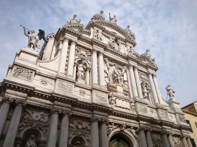 Santa Maria del Giglio (facade by Giuseppe Sardi and sculptures by Giusto Le Court. 1680-1683).  Photo by Matthew Brennan.