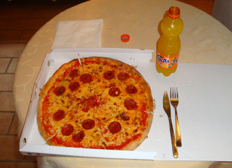 A lunch of pepperoni pizza and Fanta.  Photo by Matthew Brennan.
