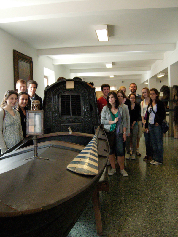 Students viewing a covered gondola.  Photo by Dr. Beall-Fofana