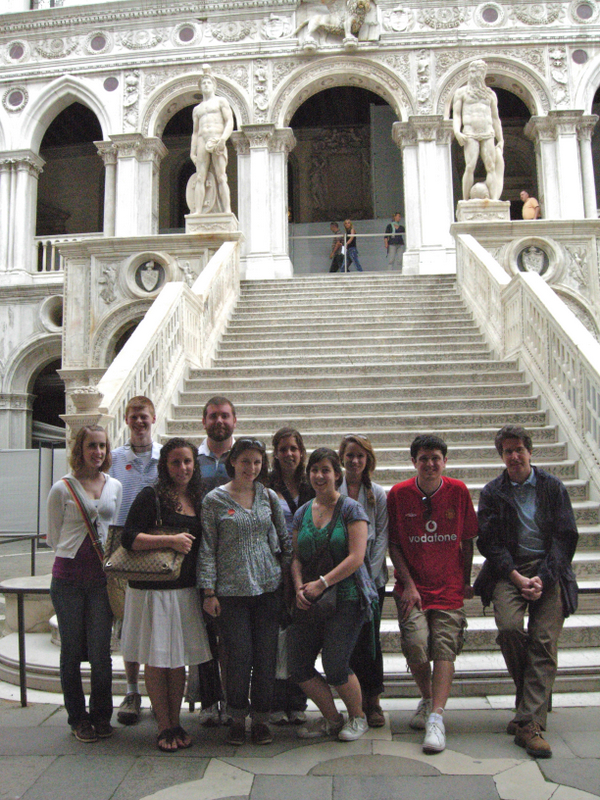 A detail of the Ducal Palace façade, and students at the Scala dei Giganti at the Ducal Palace (built after 1483 by Antonio Rizzi). Photos by Dr. Beall-Fofana