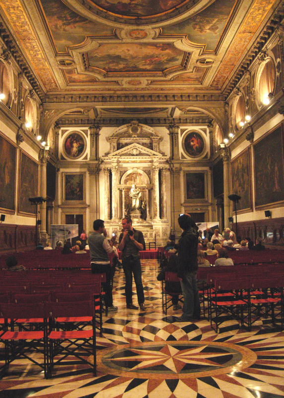 The interior of the Scuola Grande di San Giovanni Evangelista, looking towards the altar.  Built by Giorgio Masari from 1727-1762. Photo by Dr. Beall-Fofana