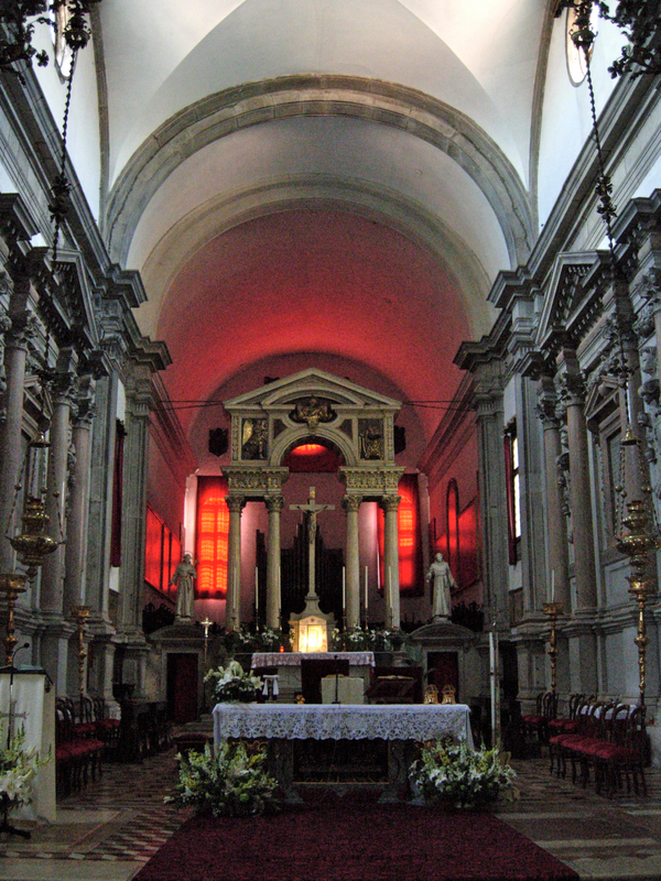 The interior of San Francesco della Vigna (church by Jacopo Sansovino, begun 1534, and facade by ANdrea Palladio in 1568.  Photo by Dr. Beall-Fofana.