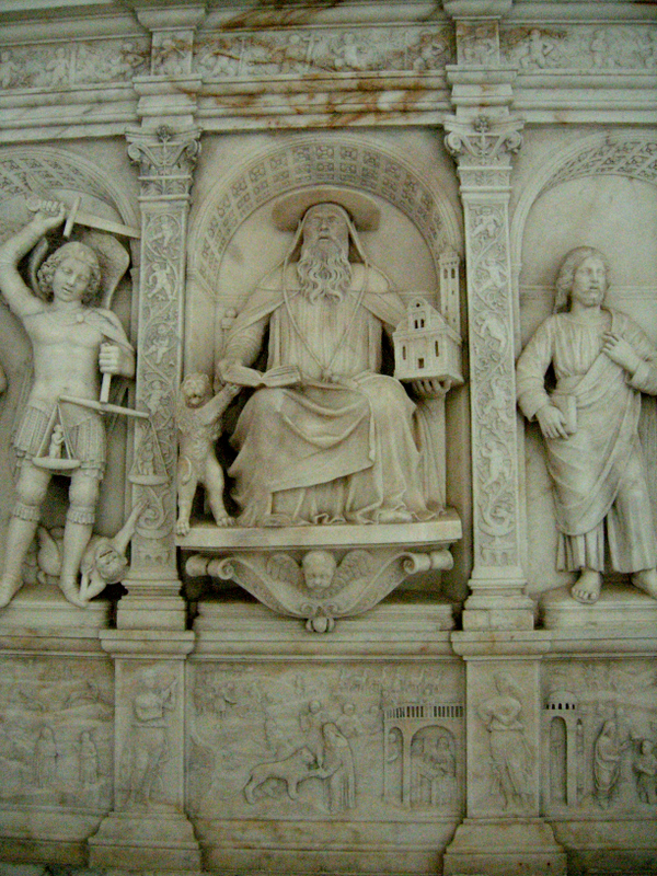 Detail of a Peitro Lombardo marble bas-relief sculpture inside the church, late 15th c.  Photo by Dr. Beall-Fofana.