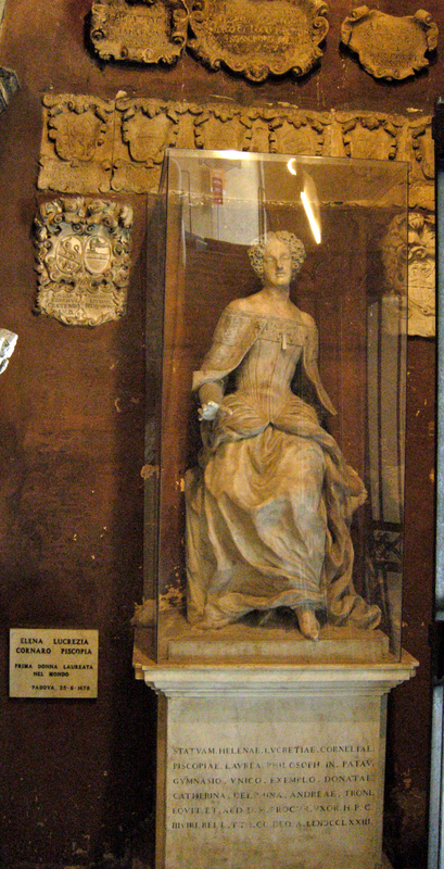 Galileos rostrum and the monument to Elena Cornaro Piscopia, both in the University of Padua. Photos by Dr. Beall-Fofana