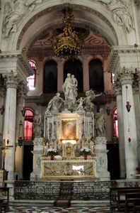 Josse de Corte's High Altar (after 1657) in the cHurch of Santa Maria della Salute.  Photo by Dr. Beall-Fofana.