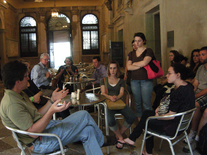 Students enjoying lunch and a discussion.  Photo by Dr. Beall-Fofana.