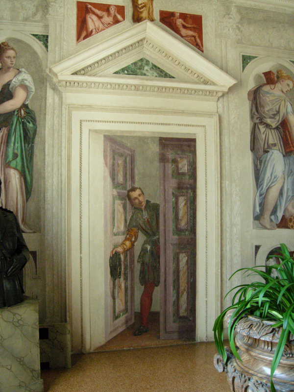 Paolo Veronese&#039;s illusionistic frescoes covered the interior of the Villa.  Photo by Dr. Beall-Fofana.