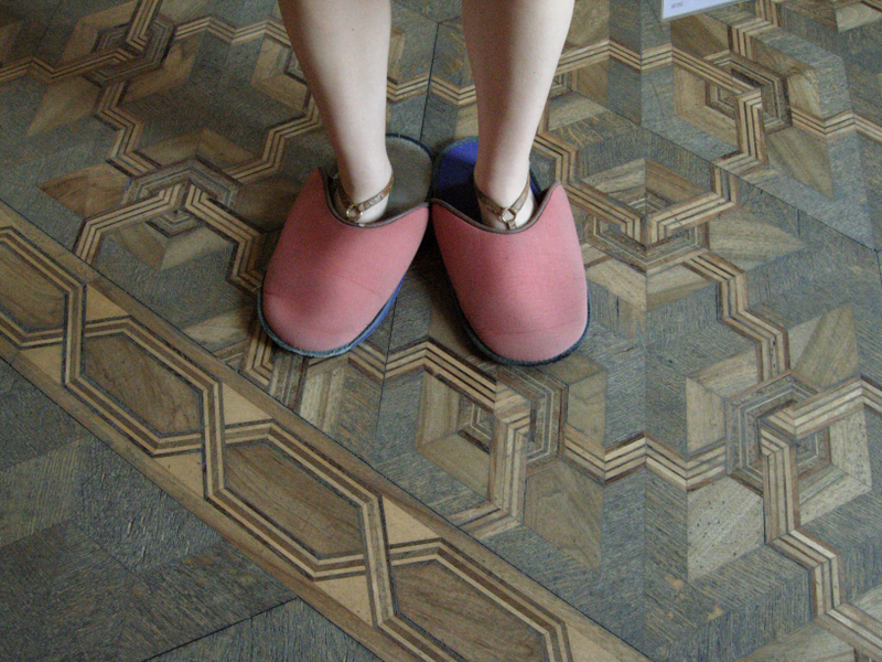 The slippers worn at the Villa Barbaro to protect the parquet floors.