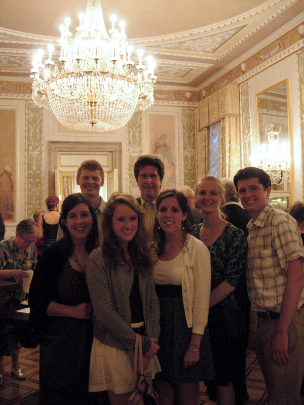 Students and faculty attending a performance of Mozart's Don Giovanni at the la Fenice opera house in Venice.