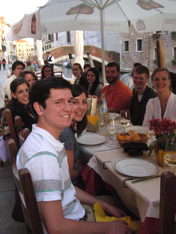 Group lunch in Murano.