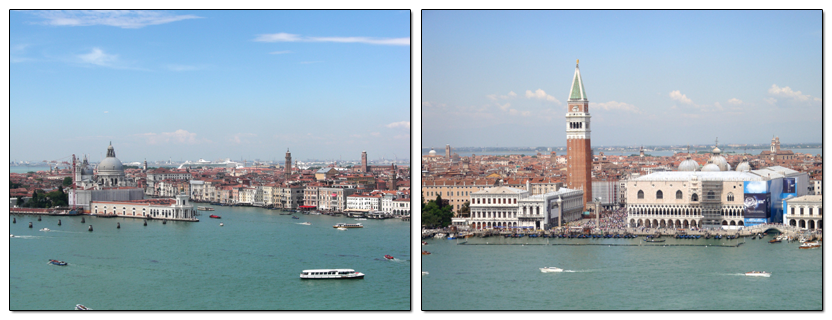 The entrance to the Grand Canal in Venice, Italy.  On the right is Jacopo Sansovino's Logetta, the Campanile, and the Ducal Palace. Photos by Matthew Brennan (left) and Susan Konola (right).