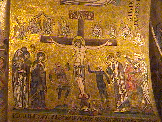 The Crucifixion of CHrist mosaic (ca. later 12th c.) inside St. Mark&#039;s Cathedral. Photo by Dr. Lazar